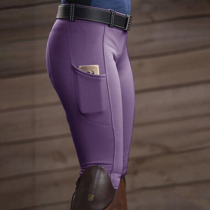 Ladies Horse Riding Leggings Tights Grip Phone Pocket Equestrian Pants Women