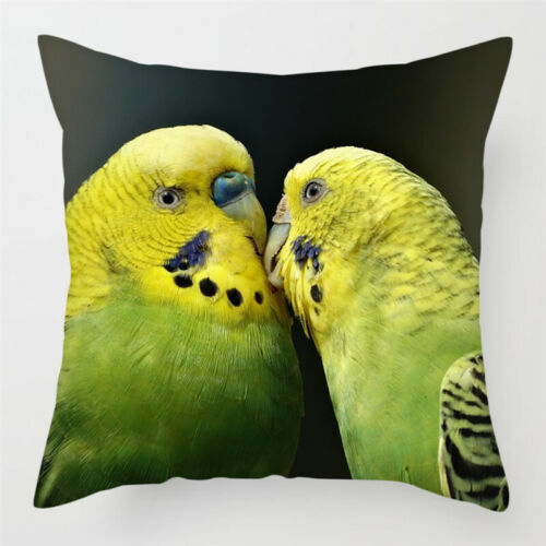 "Green Parakeets Budgies 17"" Decorative Throw Pillow Case Cover"