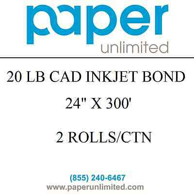 """2 Rolls 24""""x300' 20lb Cad Bond Canon 2"""" core IPF Plotter Paper Bright White"""