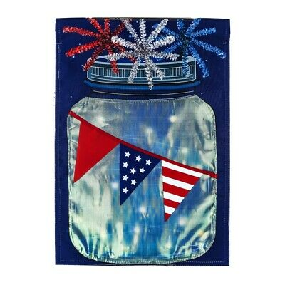 """Patriotic String Lights Mason Jar Solar LED LIGHT UP Garden Flag 12.5"""" x 18"""" (Light Up Mason Jars)"""