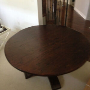 "60"" pedestal dining table with 6 chairs"