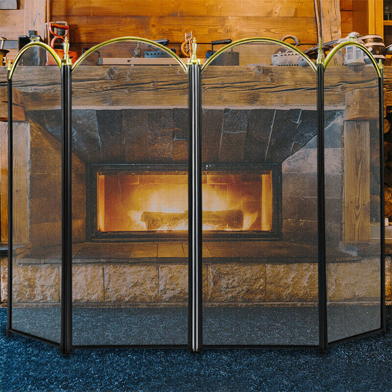VIVOHOME Large Folding Fireplace Screen 4 Panel Fire Guard S