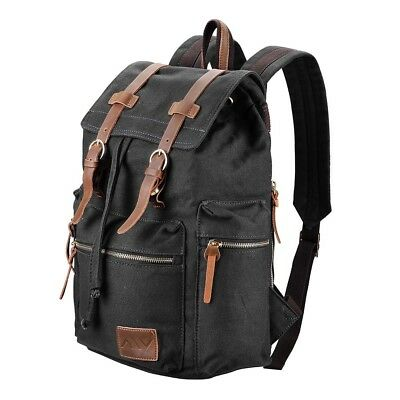 Men Women Vintage Canvas Backpack Rucksack Schoolbag Travel Hiking Shoulder Bag