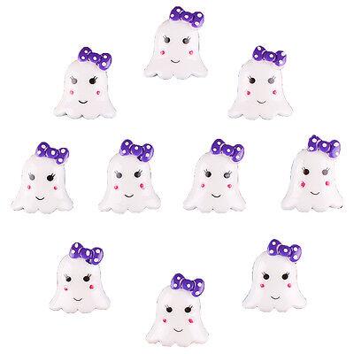Bulk 10pcs Halloween Cute Ghost w/ Purple Bow Resin Flatback Hair Bow - Halloween Hair Bow Embellishments