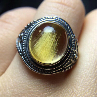 The World's Only Rare Golden hair cat's eye blink ring holiday gift 18020705