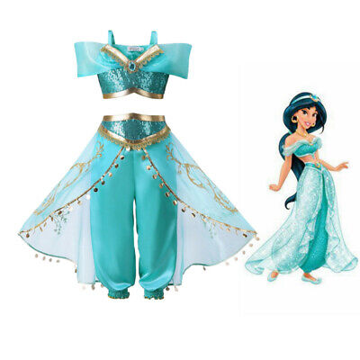 Kids Aladdin Costume Princess Jasmine Cosplay Outfit Girls Suit Pant Fancy Dress](Fancy Dress Princess Jasmine)