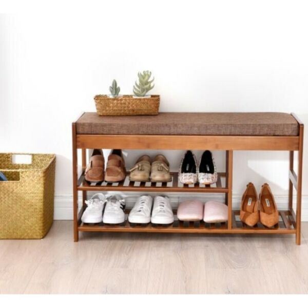 SR010 Shoe Rack Bench w Cushion, SR