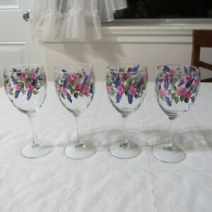 set of 4 hand-painted glasses