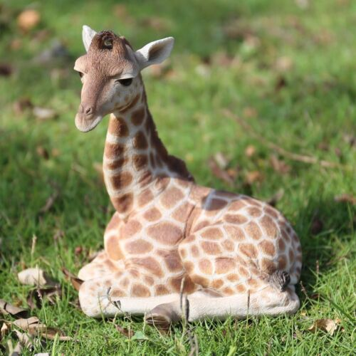 NEW Giraffe Lying Down Figurine - Life Like Realistic Statue Home / Garden