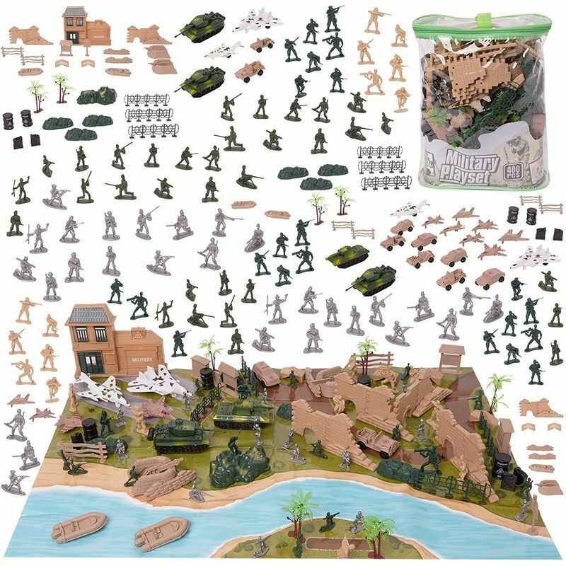 40 Pcs Army Men Action Figures Set with Map,With Carrying Tote for Easy Clean Up