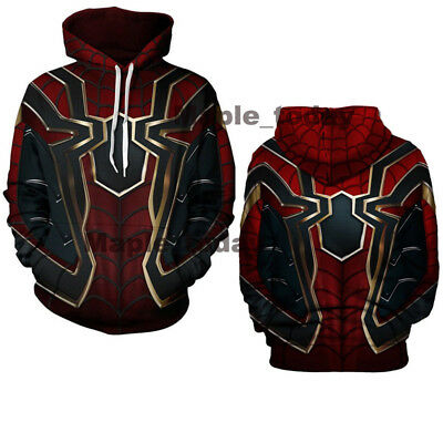 Spiderman Hoodie Mens (Iron Spider-Man Hoodies Avengers Infinity War Spiderman Streetwear Coat)