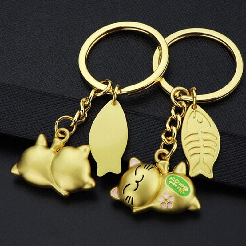 Cat Keychain Cute Key Ring Women Kitten Lucky Cat KeyChain K