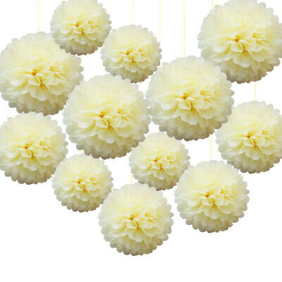 30 Mixed Cream Large Tissue Paper Pompom Pom Poms Hanging Garland Party Decor