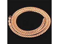 18K Rose Gold Plated Necklace - Mens Jewelry