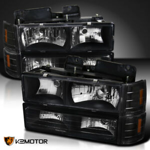 94-98 GMC C10 Sierra Suburban Black Headlights Bumper Corner Signal Lights 8PC