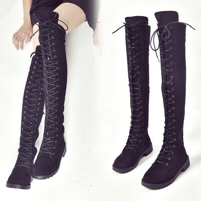 New Women Fashion Over the Knee Lace Up Thigh High Combat Low Heel Boots
