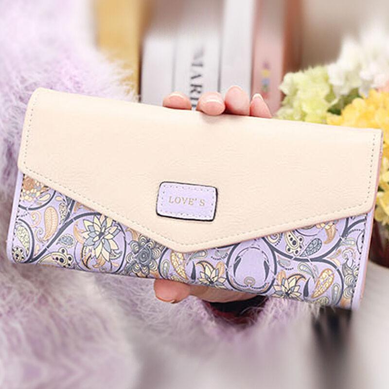 Damen Portemonnaie Geldbörse Geldbeutel Portmonee Blumen Lederbörse Brieftasche