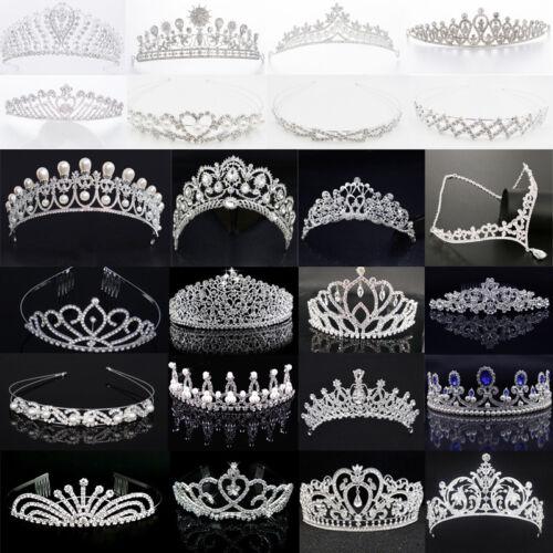 Tiara Diadem Blumen Krone Kranz Haarschmuck Haarreif Braut Strass Perle Hochzeit Kleidung & Accessoires