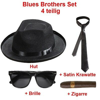 Blues Brothers Set  - 4 Tlg. Hut Brille Schlips Zigarre Gangster Kostüm -