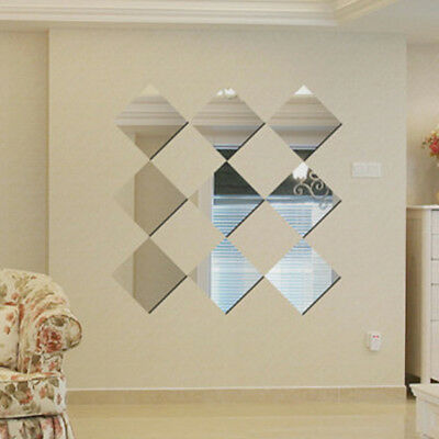 Square Self-Adhesive Wall Stickers Vinyl Mirror Wall Art Decals 4Pcs Home Decor