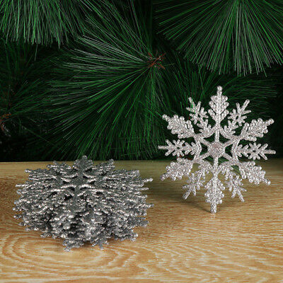 Christmas Glitter Snowflakes Decor Xmas Tree Party Multi-color Hanging Ornaments - Hanging Snowflakes