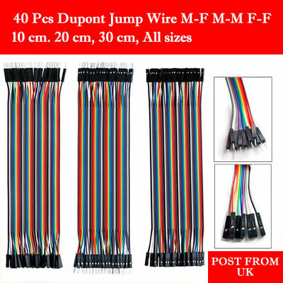 40 Dupont Jump Wire M-f M-m F-f Jumper Breadboard Cable Lead Arduino Hobby Uk Po