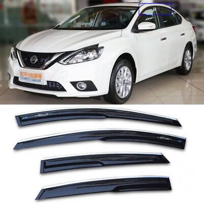 For Nissan Sylphy Black Tinted Car Chrome Trim Window Visor Vent Shade Sun Guard