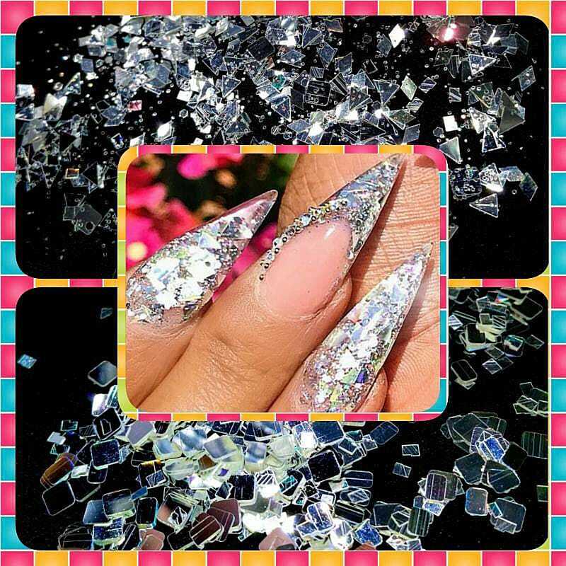 diamond mirror glitter chunky cosmetic grade nailacrylicgelb