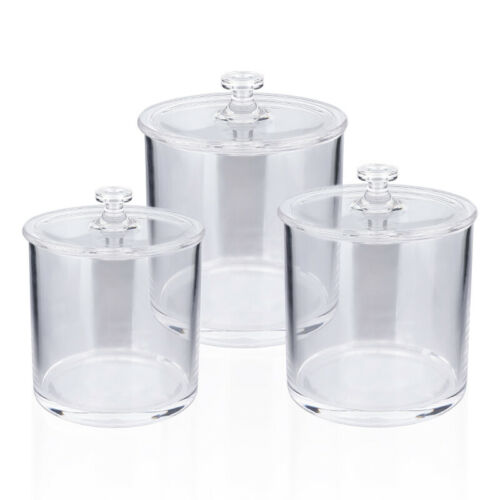 Set of 3 Clear Plastic Apothecary Jars for Bathroom Cotton J