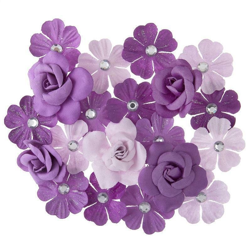 Darice 20 pc Violet MULBERRY FLOWERS Floral Embellishment Purple Lilac 30062073