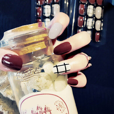 24Pcs Artificial Wine Red False Nail Short Fake Nails Art Tips Diy Summer GF