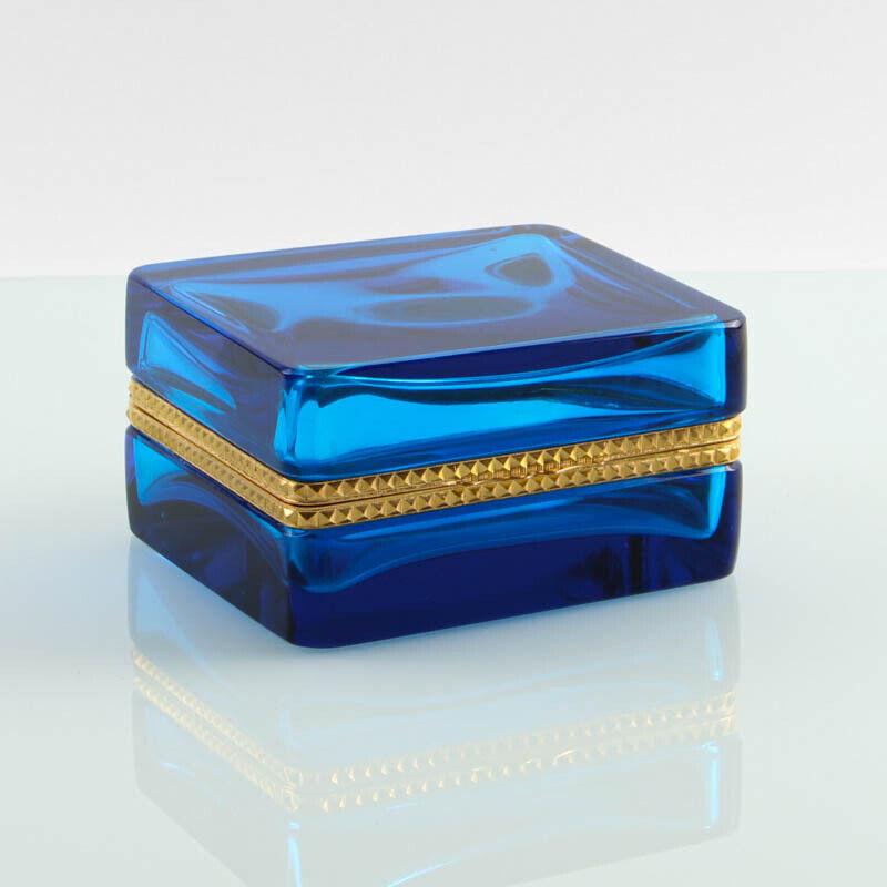 Vintage French hinged jar box casket golden polished metal square clear
