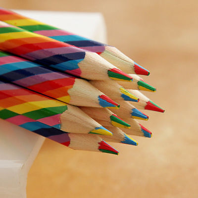 4pcs Rainbow Colored Pencils Pens Wooden Painting Student Sattionery Supplies