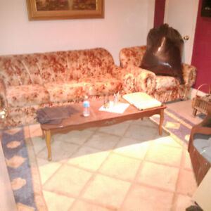 Sofa-bed, armchair (retro) and coffee table