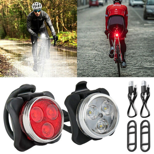 LED USB Rechargeable Bike Bicycle Light Waterproof Cycle Headlight Taillight Set