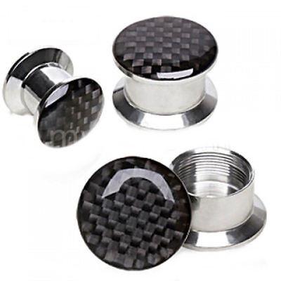 (PAIR-Carbon Check Black Steel Stash Screw On Ear Plugs 10mm/00 Gauge Body Jewel)