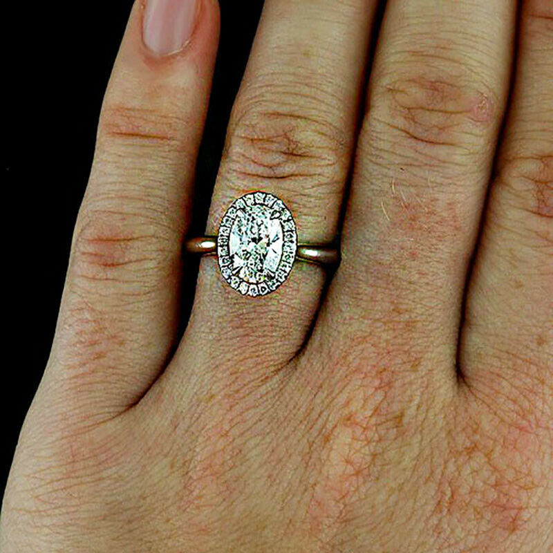 GIA Certified Diamond Engagement Ring 1.31 carat total Oval & Round Cut 14k Gold