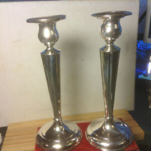 Antique Pair of Birks Sterling Silver Weighted Candlesticks / Ca