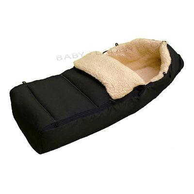 Lammfell  Fußsack Lammfellfußsack-ECHTE Lammwolle Farbe: Schwarz .NATUR UND WARM