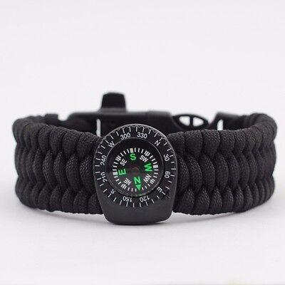 BLACK Paracord Survival Bracelet w/ Compass,Flint stone,& Whistle - Extra Wide