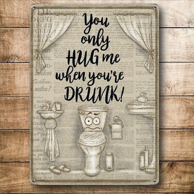 VINTAGE STYLE METAL WALL DOOR SIGN FOR BATHROOM TOILET PICTURE FUNNY GIFT JOKE