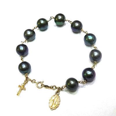 14K Gold Black Pearl Rosary Bracelet by estherleejewel