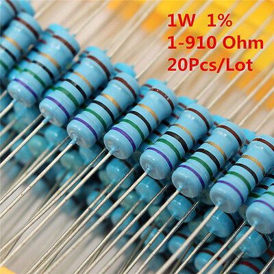 20pcs 1w 1 Watt Metal Film Resistor 1 56 120 150 180 430 470 680 1-910 Ohm