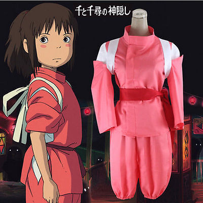 Anime Costumes For Girls ( Anime Spirited Away Chihiro Cosplay Costume Cute Pink Costumes For Girls)