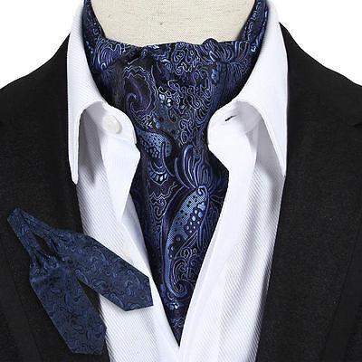 Ascot Tie - LJ07-01 Navy Blue Paisley Mens 100% Silk Ascot Tie Cravat Tied On Party Cocktail