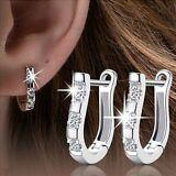 V.G Charm Women Silver Crystal Rhinestone White Gold Plated Hoop Stud Earrings