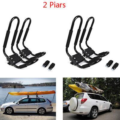 2 Pair of Black Universal Kayak Roof Racks J-Bar Top Mount Car Carrier