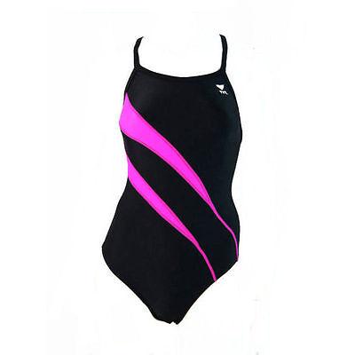 3c3746e5fa6b3 TYR Alliance Diamondback Swimming Costume Swimsuit - Black   Pink (30)