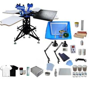 3 Color Screen Printing kit Shirt Press Printer with Dryer & Consumable 006891