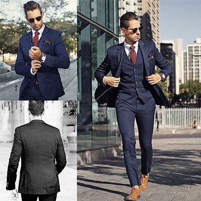 Fashion Men's Formal 3 Piece Slim Fit Check Retro Suit Prom Wedding Party Suits (Prom Suit)